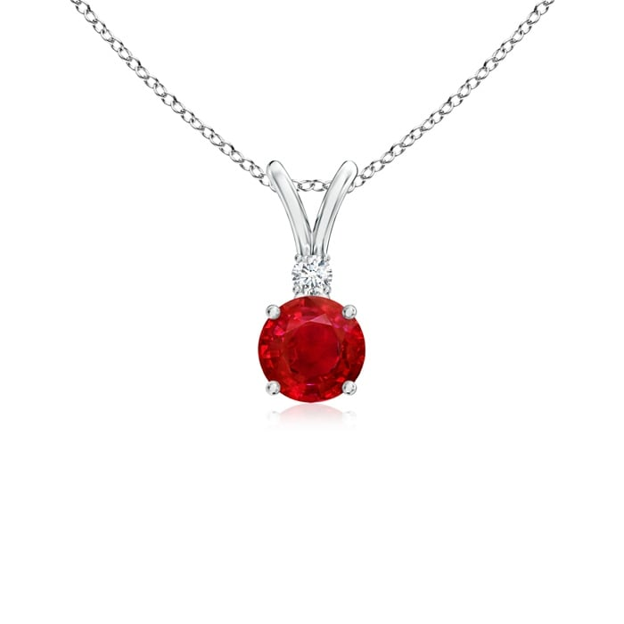 Angara V-Bail Round Ruby Solitaire Pendant with Diamond - Red/White - Thumbnail 0