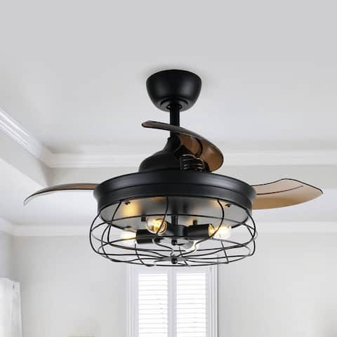Industrial 34-in Retractable 3-Blade Caged Ceiling Fan with Light Kit