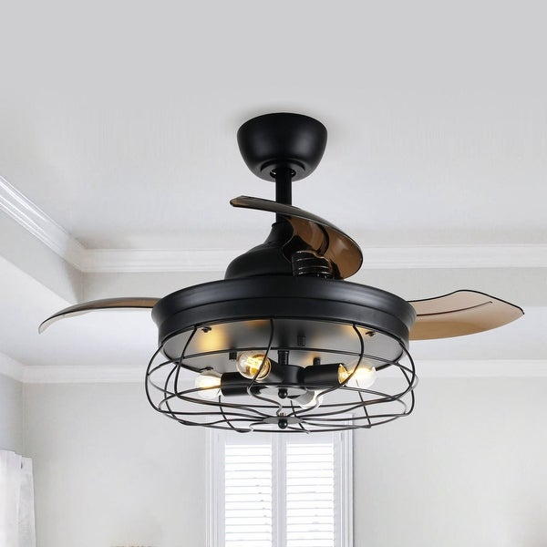 "Industrial 34-inch Retractable 3-blade Ceiling Fan - 34"". Opens flyout."