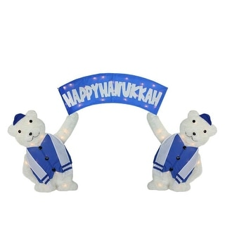 "60"" Lighted Polar Bears with ""Happy Hanukkah"" Sign Christmas Yard Art Decoration"