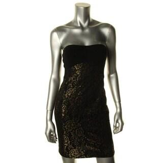 Diane Von Furstenberg Womens Garland Metallic Strapless Clubwear Dress - 2