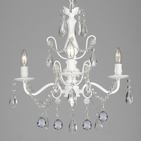 "Wrought Iron & Crystal 4 Light White Chandelier with 40mm Faceted Crystall Balls H 14"" X W 15"" Pendant Hardwire and Plug In"