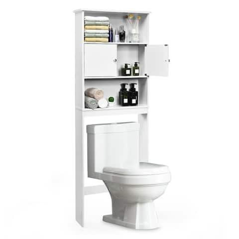 Gymax Bathroom Wood Organizer Shelf Over-the-toilet Storage Rack