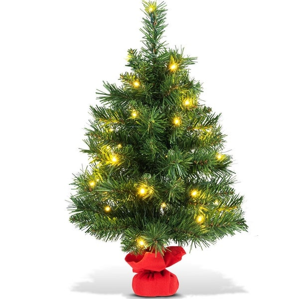 costway 24 pre lit tabletop fir artifical christmas tree battery operated w led