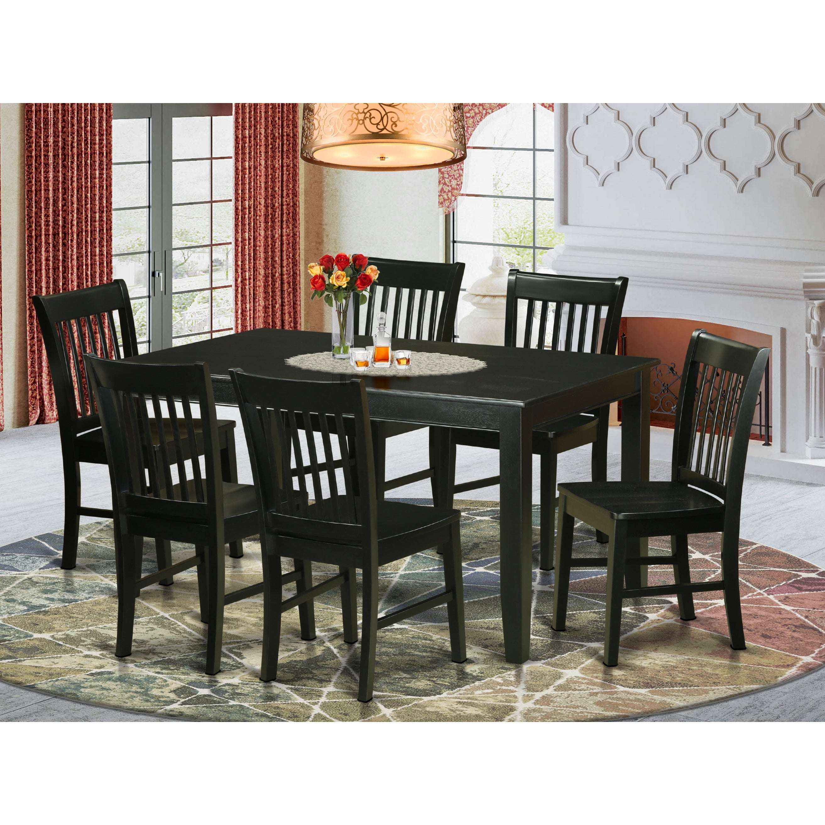 Duno7 Blk Black Rubberwood 7 Piece Dining Set With Table And 6 Chairs Overstock 12027354
