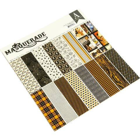 """Authentique Double-Sided Cardstock Pad 12""""X12"""" 18/Pkg-Masquerade - White"""