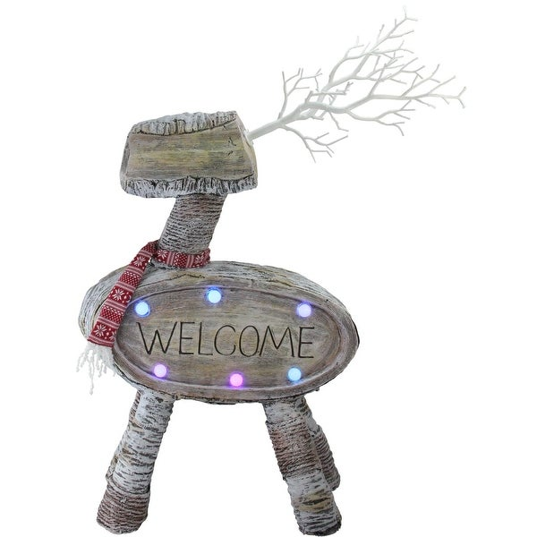"""23.5"""" LED Lighted Faux Wood """"Welcome"""" Reindeer Christmas Decoration - brown"""
