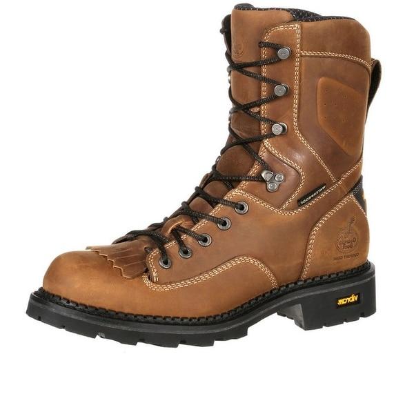 Georgia Boot Work Mens Low Heel Logger WP Comfort Brown