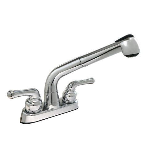 AquaPlumb Two Handle Laundry Sink Faucet with Pull-Out Sprayer
