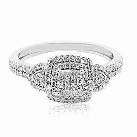1/4cttw Diamond Engagement Ring 10K White Gold 8.5mm Wide Fashoin Cocktail Ring (0.25cttw)