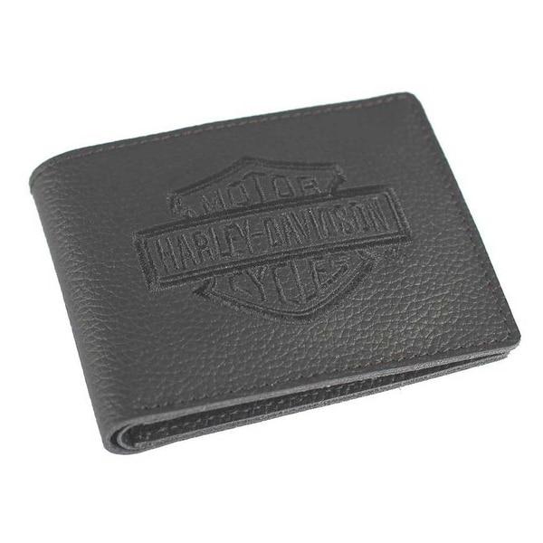 "Harley-Davidson Men's Embroidered B&S Leather Billfold Wallet XML2946-BLACK - 4.25"" x 3.5"""