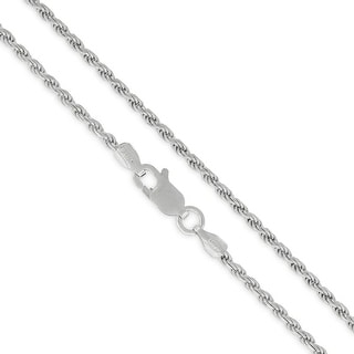 .925 Solid Sterling Silver 2MM Rope Diamond-Cut Link Rhodium Necklace Chain, Silver Chain for Men & Women, Made in Italy