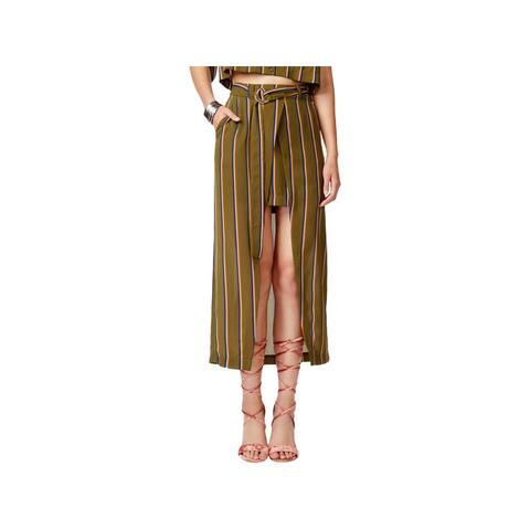 JOA Womens Wrap Skirt Striped High-Low