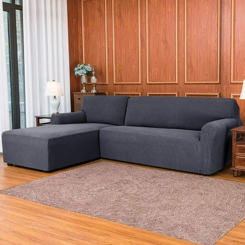 Subrtex 2-Piece L Shape Sofa Cover Stretch Sectional Left Chaise Cover