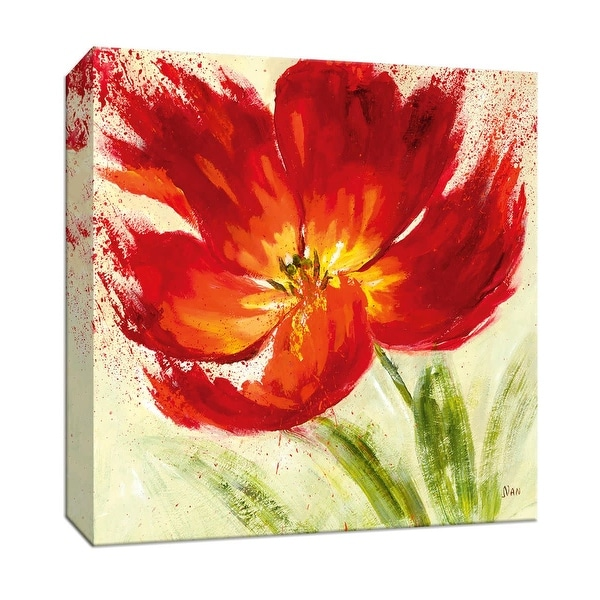 """PTM Images 9-146804 PTM Canvas Collection 12"""" x 12"""" - """"Red Splash II"""" Giclee Flowers Art Print on Canvas"""