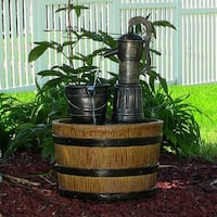 Sunnydaze Old Fashioned Water Pump & Barrel Solar on Demand Fountain - 23 Inch