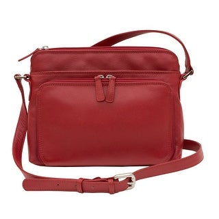 CTM® Women's Leather Shoulder Bag Purse with Side Organizer - One size