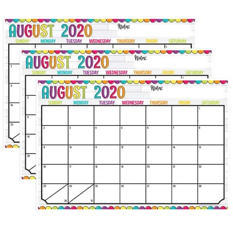 "DIY Dots Desk Academic Calendar, August-July, 13"" x 19"", Pack of 3 - One Size"