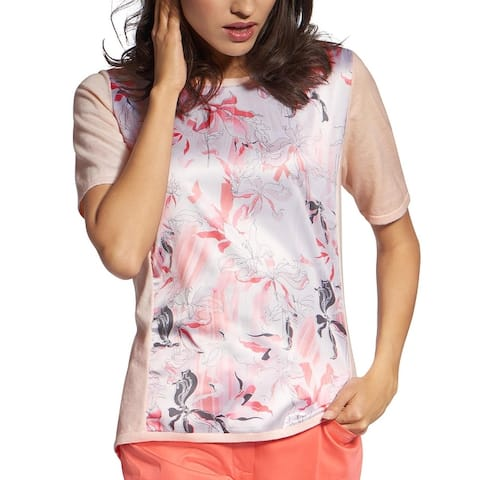 Basler Womens Plus Top Floral Print Mixed Media
