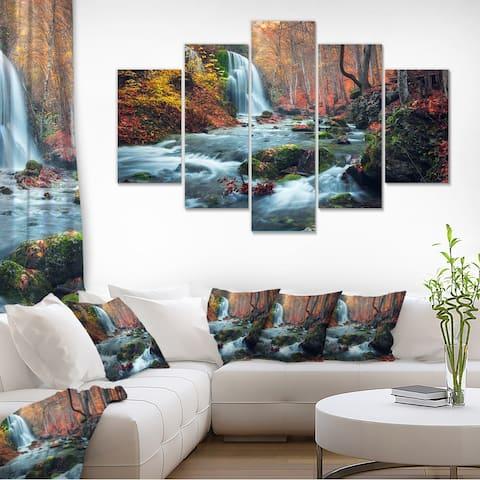 Autumn Mountain Waterfall Long View Landscape Photo Canvas Print - Orange