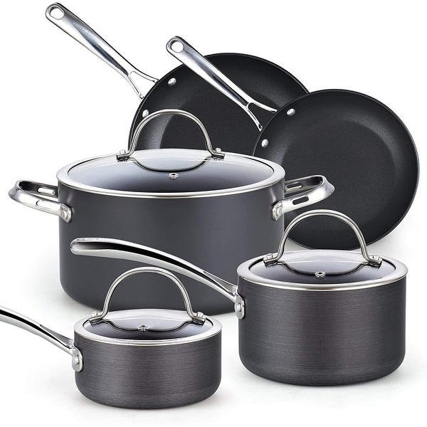 Cooks Standard Nonstick Hard Anodized Cookware Set, 8 Piece, Black. Opens flyout.
