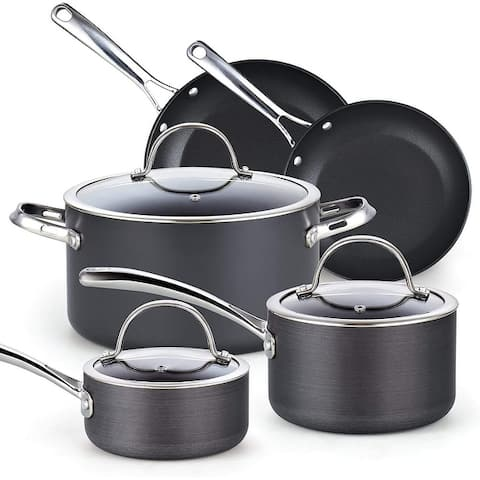 Cooks Standard Nonstick Hard Anodized Cookware Set, 8 Piece, Black