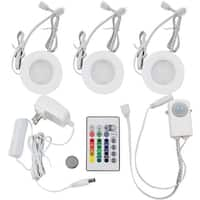 RGBWW LED Under Cabinet Lighting Kit-3pcs 2Watt LED Puck Lights + Remote + Power