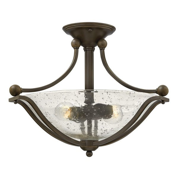 """Hinkley Lighting 4651 2 Light 19.25"""" Width Semi-Flush Ceiling Fixture from the Bolla Collection - olde bronze/clear"""