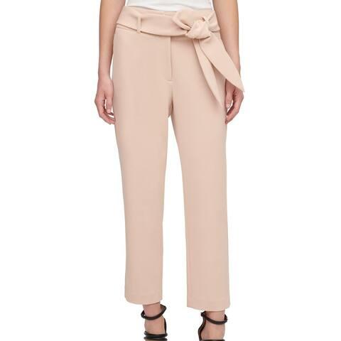 DKNY Women's Dress Pants Blush Pink Size 16X25 Crepe Belted Stretch