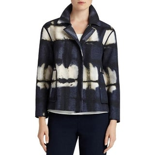Lafayette 148 Womens Open-Front Blazer Metallic Long Sleeves