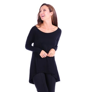 Simply Ravishing Women's Solid Hi-Low Long Sleeve Dolman Tunic Top