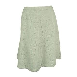 Calvin Klein Women's Floral Lace A-Line Skirt - Soft White