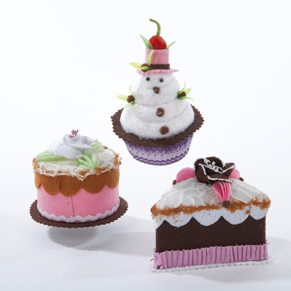 """Club Pack of 12 Sweet Memories Fabric Cake Christmas Ornaments 2.75"""". Opens flyout."""