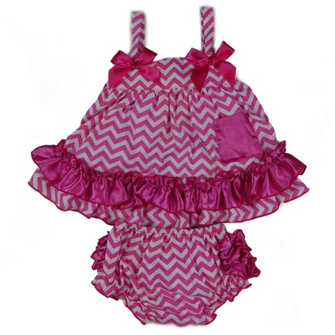 Wenchoice Baby Girls Hot Pink Chevron Bow Ruffles Swing Top Set