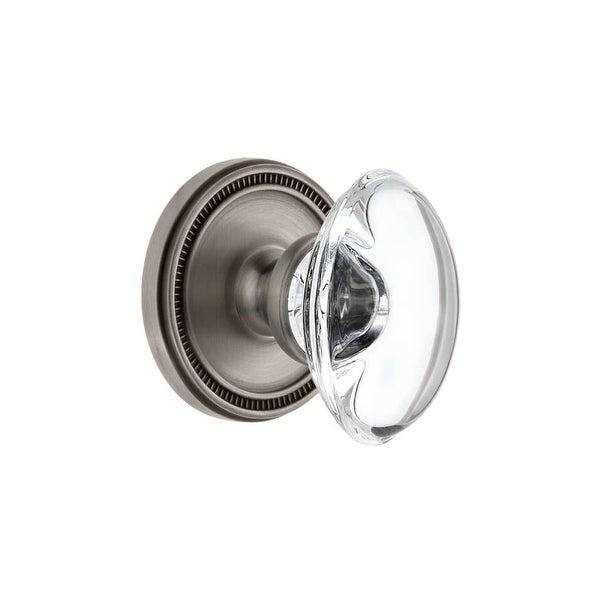 """Grandeur SOLPRO_PRV_234 Soleil Solid Brass Rose Privacy Door Knob Set with Provence Crystal Knob and 2-3/4"""" Backset"""