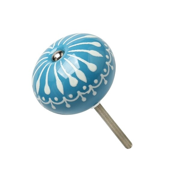 Ceramic Knobs Vintage Knob Drawer Pull Handle Furniture Kitchen Door Cabinet Cupboard Wardrobe Dresser Decoration Blue - 1pcs