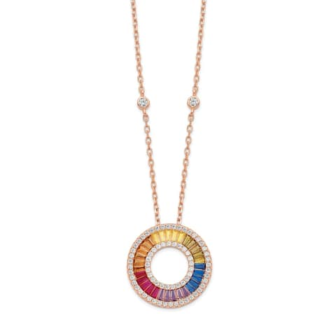 Sterling Silver 14K Flash Rose Gold-plated Colorful Cubic Zirconia Circle Pendant with 2-inch Extender Necklace by Versil