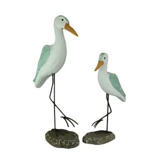 Sea Green Wood Shorebird Coastal Wader Statue Set of 2