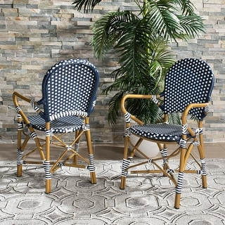 "Safavieh Outdoor Living Hooper (Indoor/Outdoor) Stacking Armchair - Navy/White (Set of 2) - 20.8"" x 21.6"" x 35"""