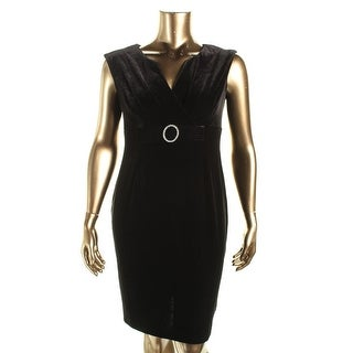 Connected Apparel Womens Petites Velvet Party Cocktail Dress