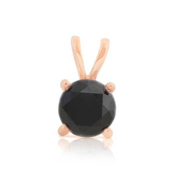 Brand New Round Brilliant Cut Prong Set Black Diamond Solitaire Pendant