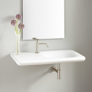 """Signature Hardware 424931 Vilas 36"""" Porcelain Wall Mounted Sink with Single Faucet Hole - White - N/A"""
