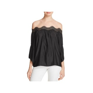 Ramy Brook Womens Priscilla Blouse Lace Trim Off the Shoulder