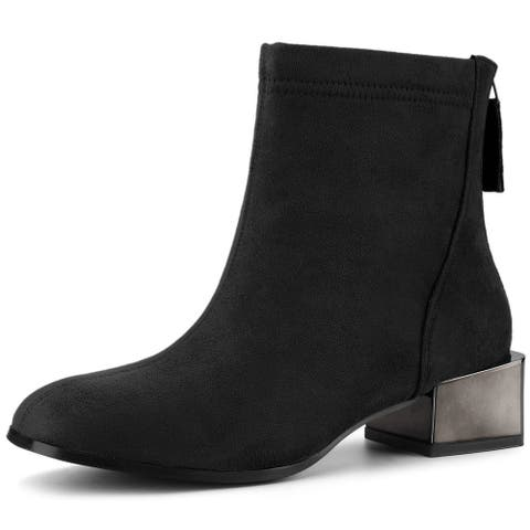 Women's Square Toe Chunky Electroplated Heel Ankle Boots