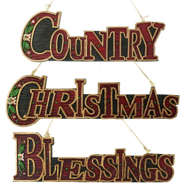 """Set of 3 """"CHRISTMAS"""", """"COUNTRY"""" & """"BLESSINGS"""" Sign Holiday Ornaments - RED"""