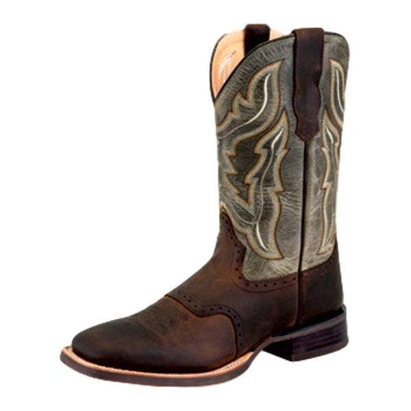 Old West Cowboy Boots Mens Rubber Broad Square Brown Olive