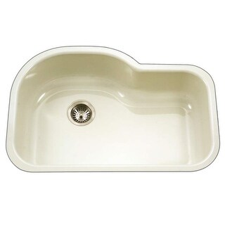 "Houzer PCH-3700 Porcela 31-1/4"" Single Basin Undermount Porcelain Enameled Kitchen Sink with Sound Dampening Technology"