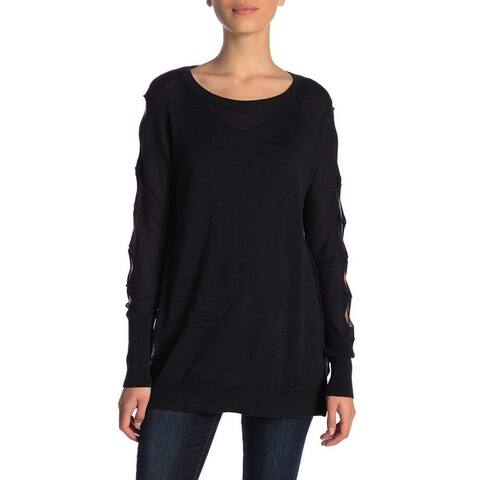 14th & Union Women's Black Size Small S Cut Out Sleeve Tunic Sweater
