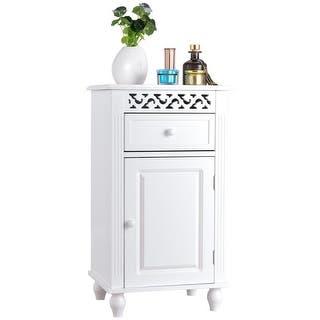 gymax storage floor cabinet bathroom organizer floor cabinet drawer kitchen white - Bathroom Floor Cabinet