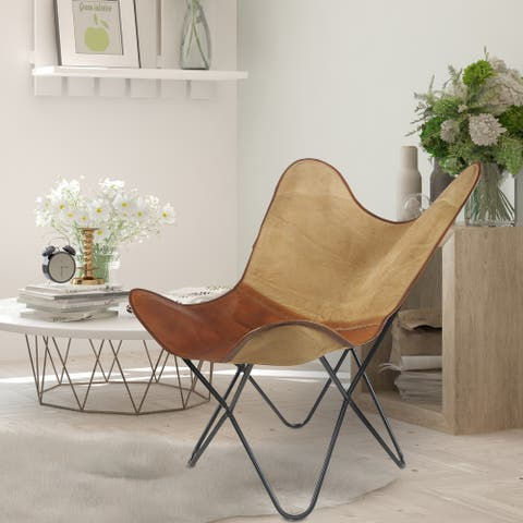 "Two Tone Canvas and Faux Leather Butterfly Chair - 37"" L x 27"" W x 16"" D"